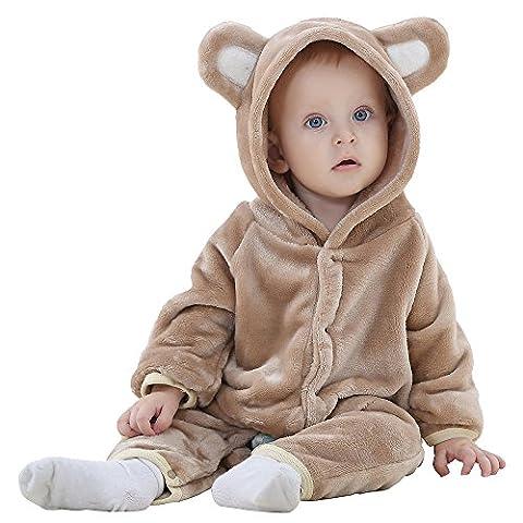 CCZZ Baby Jungen Mädchen Bär Stil Overall Herbst & Winter Strampler Kleidung Flanellgewebe Strampler Bodysuit Spielanzug Hoodie (Bären-kostüm Für Baby)