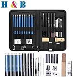 H&B Sketch Pencils Set Kit de dessin d'artistes dans un étui à fermeture à glissière avec un tampon à croquis, tous les accessoires divers et d'art pour votre peinture (40 Piece Professional Pack).