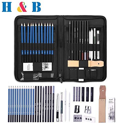 H&B 40 Stück Professionelle Skizzierstifte Set Skizzieren Zeichnen Bleistifte Profi Art Set für Künstler Anfänger Schüler und Kit Tasche