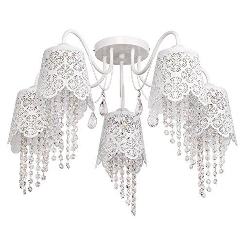 Kronleuchter weiß Metall mit Schirmen