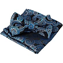 Panegy Hombres Pajarita y Pañuelo de Bolsillo de Poliéster Jacquard (Conjunto de Caja de Regalo) para Boda Fiesta - Negro*Azul