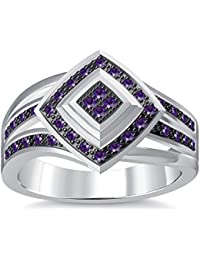 Silvernshine 1.35Ctw Round Cut Amethyst Simulated Diamonds 14K White Gold Plated Engagement Ring