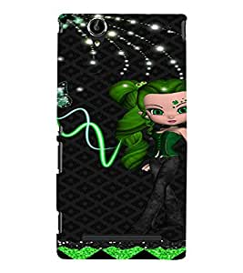 PrintVisa Cute Animated Girl Butterfly 3D Hard Polycarbonate Designer Back Case Cover for Sony Xperia T2 Ultra