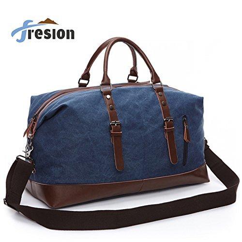 Männer Reisetaschen Weekender Tasche Sporttasche Handgepäck Vintage Leder Segeltuch Holdall Overnight Travel Bag für Damen Herren Kurze Reise Fresion Arbeitstasche (Blau) -