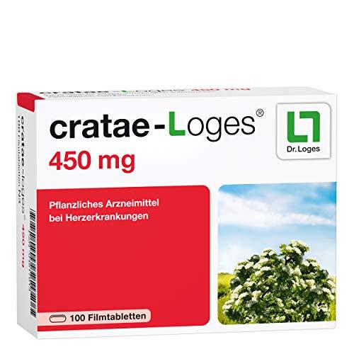 cratae-Loges® 450 mg 2-Monatspackung - Pflanzliches Mittel bei Herzerkrankungen - Hochdosierter Weißdornextrakt in bester Qualität - Bewährt bei chronischer Herzinsuffizienz - 100 Tabletten