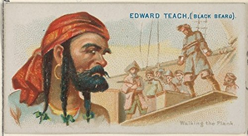 ' – Edward Teach (Black Beard) Walking the Plank from the Pirates of the Spanish Main series (N19) for Allen & Ginter Cigarettes Kunstdruck (45,72 x 60,96 (Walking Pirate Plank)