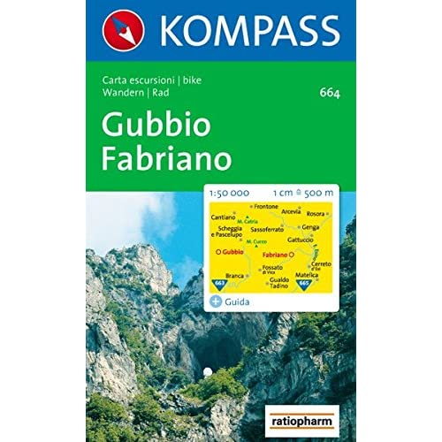 Carta Escursionistica N. 664. Toscana, Umbria, Abruzzi. Gubbio, Fabriano 1:50.000