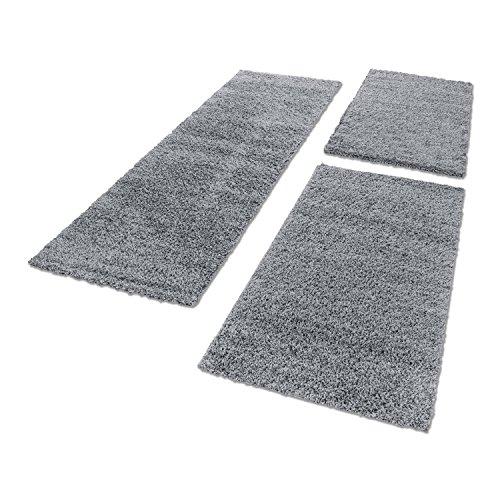 Scendiletto Tappeto Shaggy per camera da letto Set pelo lungo 3pezzi Polipropilene grigio chiaro 2 mal 60x110 e 1 mal 80x150