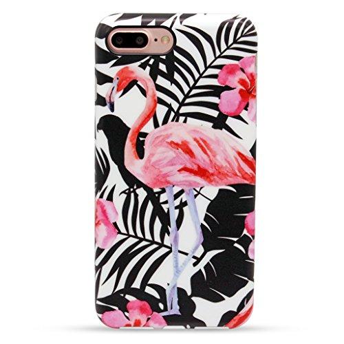 Panelize iPhone 7 Plus Blümchen Hülle Schutzhülle Handyhülle Hard Case Cover Kratzfest Rutschfest Durchsichtig Klar (Palme 1) Palme Flamingo