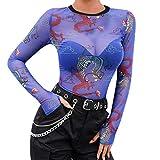 Goosuny Damen Transparente Bluse Sexy Perspektive Mesh Langarm Top Unterhemden Oberteile Hemd Blusen Blusenshirt Mode Sommer Tunika Sweatshirt Sommerblusen Slim Fit Langarmshirt