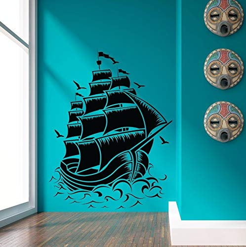 57x75cm Entfernbare Fashion Home Decor Decal Nautical Sail Boat Pirate Wall Decal Room Decor Vinyl Wall (Room Decor Pirate)