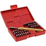 Kit outils Lettres et chiffres à frapper 38 pièces alphabet Lettre et numéros Poinçon Timbres de perforation métal Coffre
