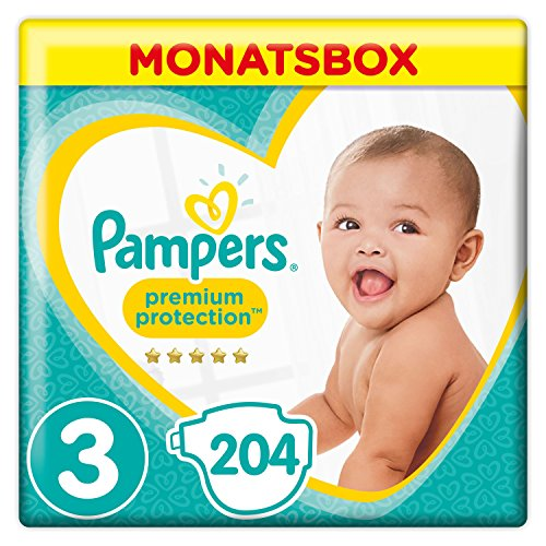 Pampers Premium Protection Windeln, Gr. 3 Midi (5-9 kg), Monatsbox, 1er Pack (1 x 204 Stück)