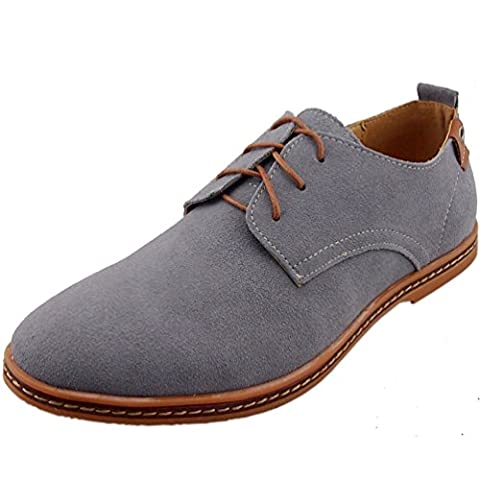 DADAWEN Homme leather Oxford chaussure-Gris 43