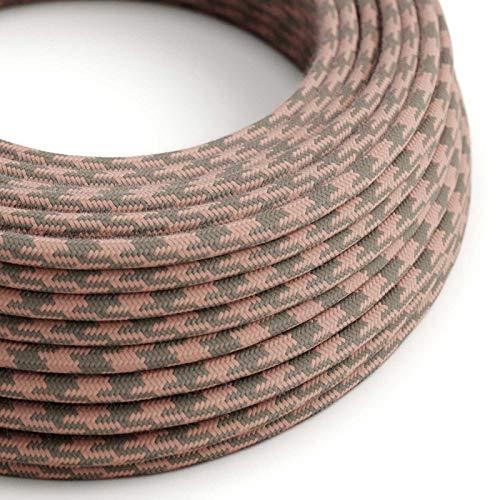 creative cables Textilkabel rund, antikrosa grau bifarbig Baumwolle, RP26-3 Meter, 2x0.75
