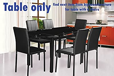 Extending Dining Table in Black Top with Black Leg(Table only) Easy to Assemble Premium Quality