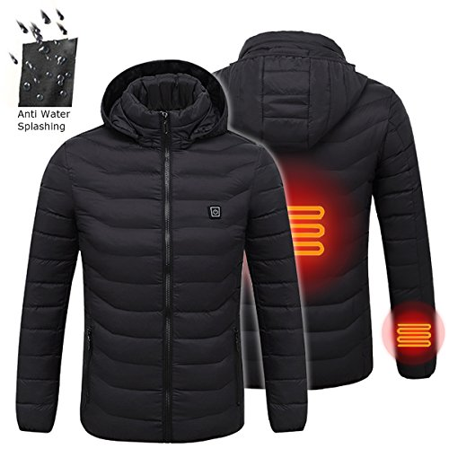 Bluelover Men Es Intelligent Heating USB Kapuzenjacke Beheizt Work Jacket Mäntel Einstellbar Temp - XL