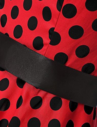 Dressystar Vintage Tupfen Retro Cocktail Abschlussball Kleider 50er 60er Rockabilly Neckholder Rot Schwarz Dot M - 5
