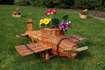 Flugzeug aus Korbgeflecht, 75 cm, Rattan, Weidenkörbe, bepflanzen möglich, Pflanzkorb, Blumentopf, Blumentopf, Pflanzkübel, Pflanztrog, Pflanzgefäß, Pflanzschale, Pflanzkasten, Übertopf, Blumenkasten, Pflanzkarre
