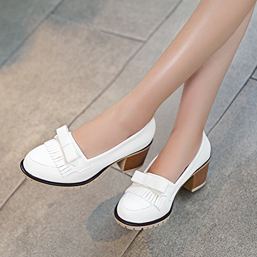 Mee Shoes Damen modern süß Geschlossen dicker Absatz mit Schleife Quaste runder toe Pumps Weiß