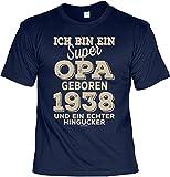 Veri T-Shirt zum 80. Geburtstag Opa Geschenk Opa HINGUCKER Aufdruck Jahrgang geboren 1938 Jahre alt Gr: L : -