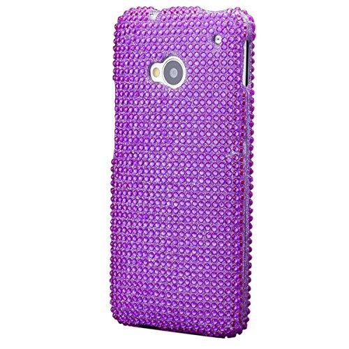 iCues HTC One M7 2 Part Strass Case Lila | [Display Schutzfolie Inklusive] Strass Glitzer Glitter Luxus Bling Damen Frauen Mädchen Schutzhülle Hülle Cover Schutz