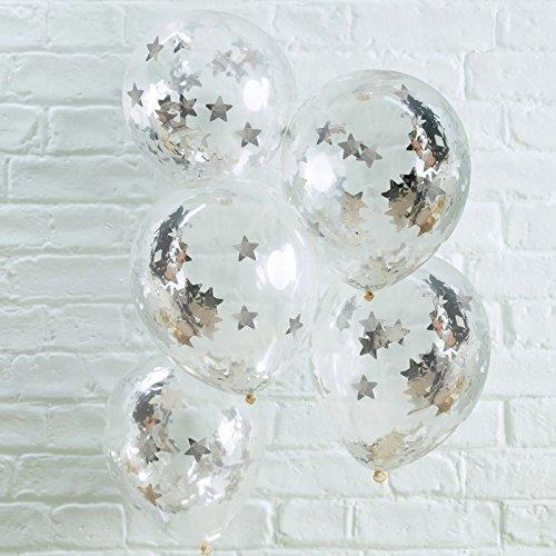 ns transparten mit Silbernem Stern Konfetti im Ballon - Inhalt 5 Stück - Weihnachten Geburtstag Party Feier Hochzeit ()