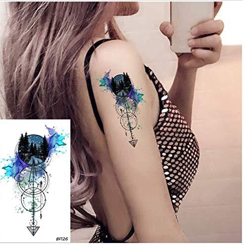 ruofengpuzi Mode 3D Aquarell Wald Anker Pfeil Tattoo Temporäre Frauen Arm Art Tattoo Aufkleber Männer Blatt Maßgeschneiderte Fake Tattoo