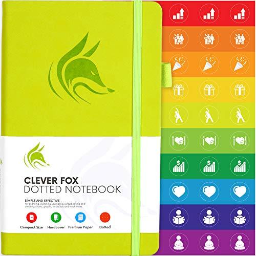 Clever Fox Notizbuch, A5, 12,7 x 21 cm, gepunktet, nummeriert A5 (5'' x 8.25'') lindgrün (Top-spirale Gebunden Notebook)