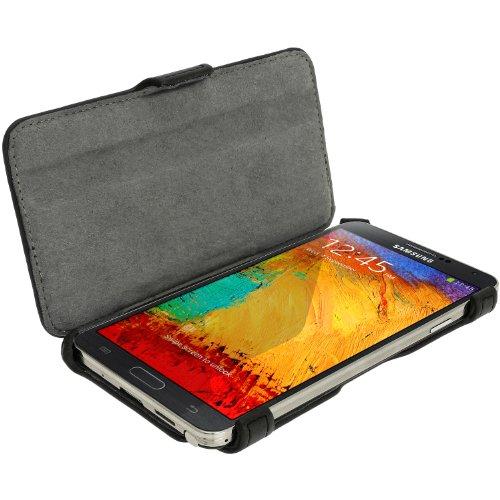 igadgitz Schwarz PU Ledertasche Hülle Flip Case Cover für Samsung Galaxy Note 3 III N9000 mit Multi Winkelbetrachtung Stand + Bildschirmschutzfolie