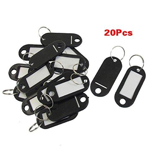20 PC-Schlüssel-ID-Aufkleber Schlagwörter Split Ring Schlüsselanhänger Schlüsselanhänger Schwarz