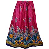 Mogul Interior Womens Retro Skirts Printed A-Line Flirty Bohemian Long Skirt (Pink)