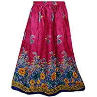 Mogul Interior Womens Retro Skirts Printed A-Line Flirty Bohemian Long Skirt (Pink)
