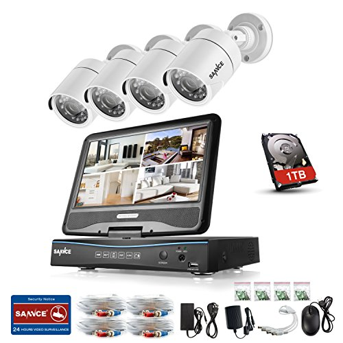 SANNCE Kit seguridad monitor 10.1 pulgadas 4 cámaras