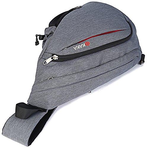 Freemaster Zaino Sportivo, Zaino monospalla per campeggio, palestra, attività fisica, ciclismo e per la scuola, Grey, 18.7H x 11.8W x 5.1T inch (47 x 30 x 13cm) nero - grigio