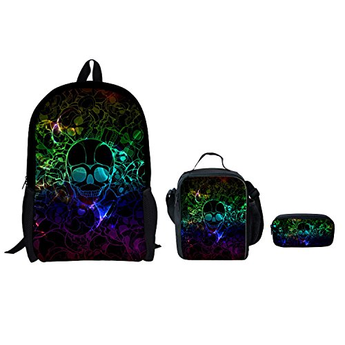 ThiKin Galaxy Print Backpack Lunch Bags Pencil Cases Set for Girls Elementary Middle School Bag Set for Boys