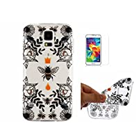 For Galaxy S5 Case,For Galaxy i9600 Case [With Tempered Glass Screen Protector],Fatcatparadise(TM) Anti Scratch Transparent Soft Silicone Cover Case ,Colorful Cute Pattern Ultra Slim Flexible Non-Slip Design TPU Protective [Crystal Clear] Shell Bumper Cas