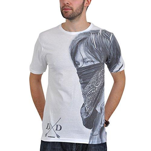 Walking Dead Daryl Dixon AMC OFFICIAL Sublimation T-Shirt unisexe blanc jusqu'au XXL - Blanc, X-Large / 122cm, Vêtements