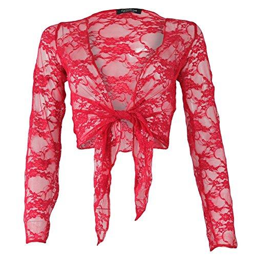 Janisramone femmes recadrée longues manches dentelle cravate haussement d'épaules boléro dentelle haut Rouge