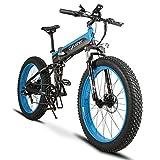 Extrbici Vélo Tout Terrein Pliable électrique Homme XF690Plus VTT Pliant électrique en Alliage d'Aluminium 48V 500W 10A avec Ecran LCD et Pas 5 d'Assistance électrique (Bleu Noir)