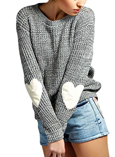 Nlife Frauen Strickte V-Ausschnitt Langarm Pullover Bluse Tops, Gr. M, Farbe: Grey (Tunika V-neck Knit)