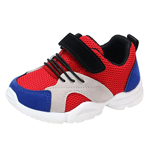 ädchen Kinder Casual Turnschuhe Mesh Laufschuhe Sneaker Sportschuhe (22, Rot) ()