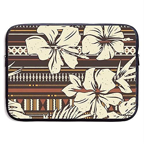Abstrakte Hibiskus-Blume Stammes- Gewebetapete Laptop-Hülsen-Beutel [Für MacBook Air 11 13] Beweglicher Laptop-Beutel Tablette-Beutel, wasserdicht -