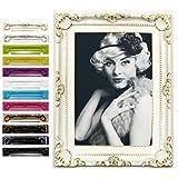 EUGAD Bilderrahmen Fotogalerie #51, Kunststoff Rahmen, Glas Vorderseite, Antik Barock, zum Aufstellen im Querformat und Hochformat, 12 Farben in 5 Größen (Weiß-Gold, 10x15)