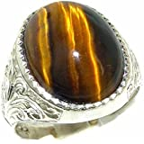 Gents Solid Sterling Silver Natural Tigers Eye Mens Signet Ring - Finger Sizes M to Z+2 Available