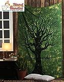 nandnandini Textil–Weihnachten Deko Twin grün Baum des Lebens Hippie Tapisserie, Hippie-Mandala Tapisserie Wandbehang Ethnische Dekorative Bohemian Wandteppiche, Indian Decor Wohnheim, Psychedelic