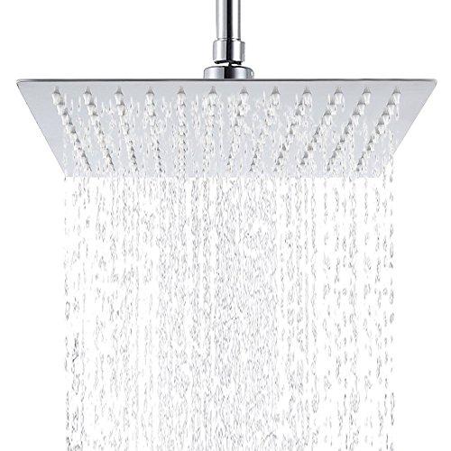 Hiendure® 12 pollici Alta pressione Ultra sottile 304 in acciaio inox Piazza Testa doccia a pioggia