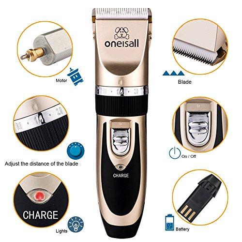 Oneisall Haustier Grooming Clipper Kits Geräuscharmer Haarschneidemaschine Hund und Katze wiederaufladbare drahtlose elektrische leise Tierhaarschneider - 3