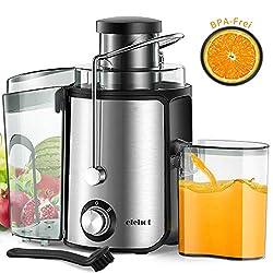 Entsafter Zentrifugaler zwei Geschwindigkeit Juicer mit 65mm große Einfüllöffnung Überhitzungsschutz und Überlastschutz für Obst und Gemüse 500 ml Saftbehälte mit Reinigungsbürste BPA Frei von ELEHOT
