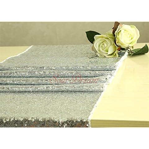 3,7m Argento Halloween lustrini tessuto matrimonio doccia testa tavolo sfondo Halloween/Natale Guide da tavolo